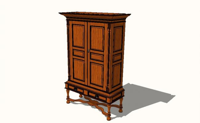 Dutch Colonial Cupboard 3d model cad drawing details skp file