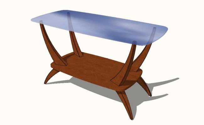 Dutch Glass Top Coffee Table 3d block cad drawing details