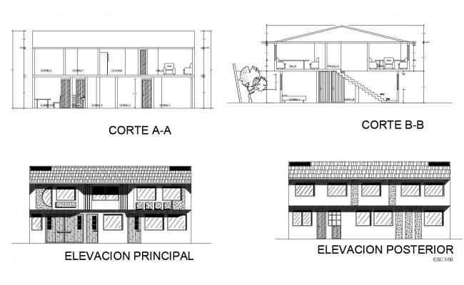 Dwg file of 2 storey house with detail dimension