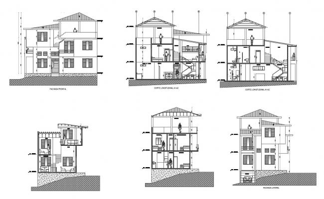 Dwg file of 2 storey house with elevation