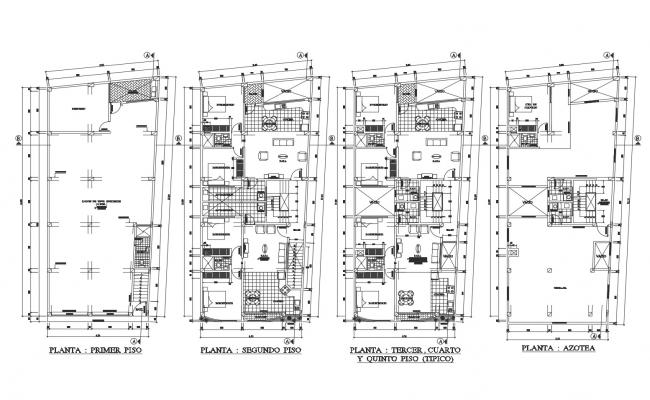 Dwg file of Residential apartment 9.50mtr x 20.00mtr with detail dimension