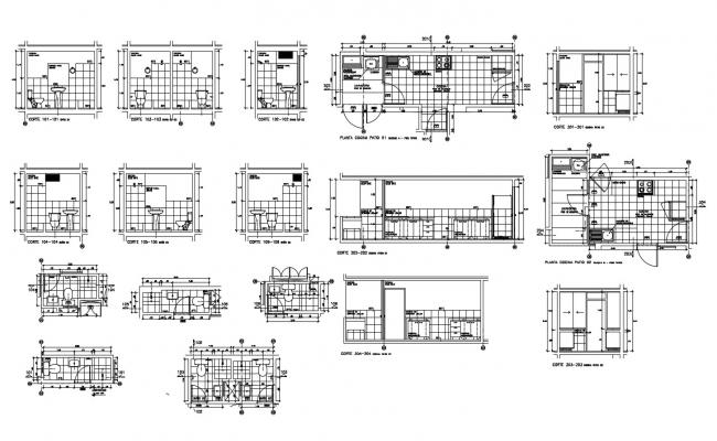 Dwg file of bathroom and kitchen with sections