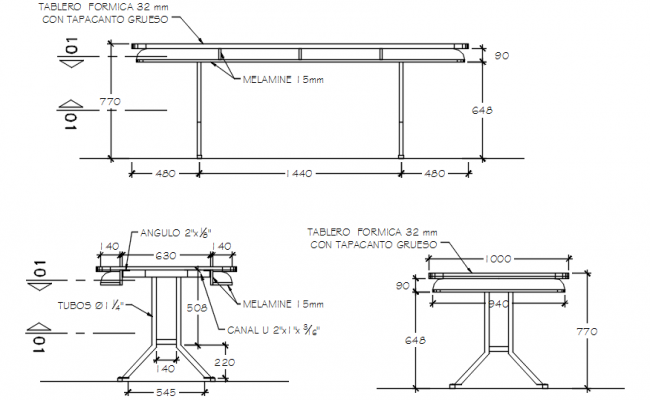 Dwg file of dining table elevations