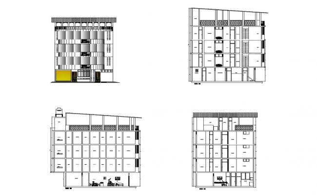 Dwg file of hostel elevation