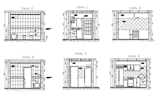 Dwg file of kitchen and toilet elevations