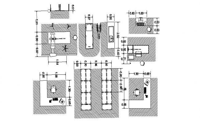 Dwg file of office furniture block