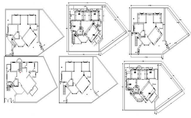 Luxury Bungalow House Plan In DWG File