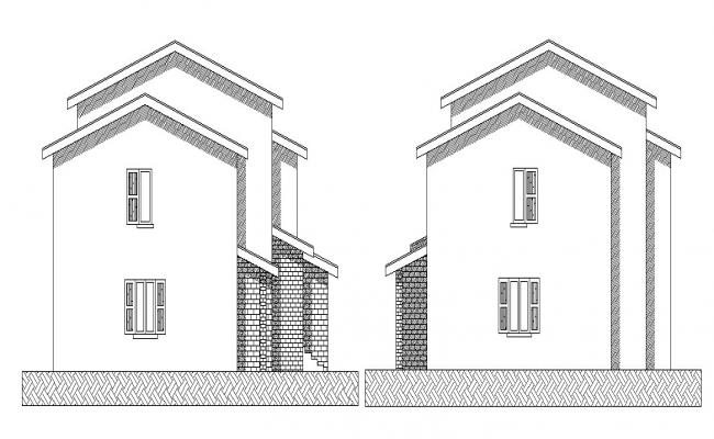 Dwg file of residential bungalow elevations