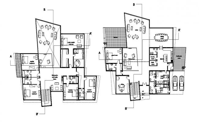 Dwg file of residential bunglow