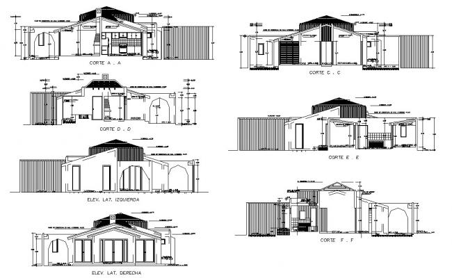 Dwg file of residential bunglow sections