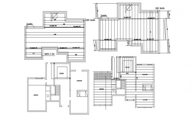Dwg file of rooftop layout of residential bungalow