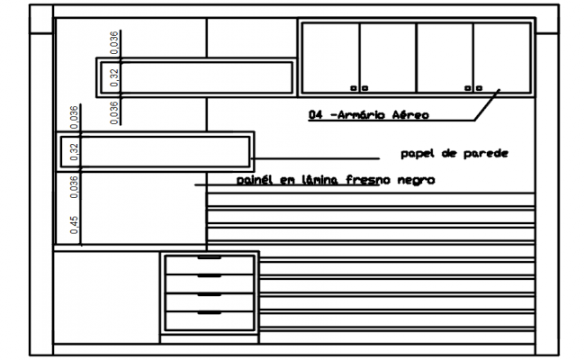 Dwg file of sectional elevation of bedroom