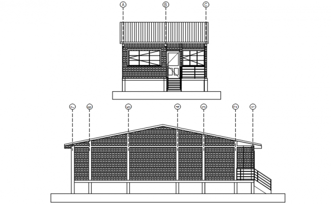 Dwg file of sectional elevation of bungalow