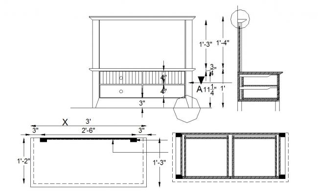 Side Table Design In AutoCAD File