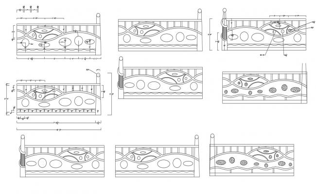 Dwg file of staircase design of railing for residential house