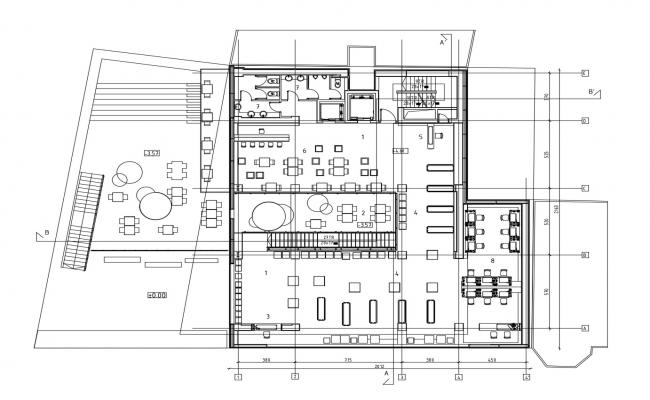 Dwg file of the cafe with detail dimension