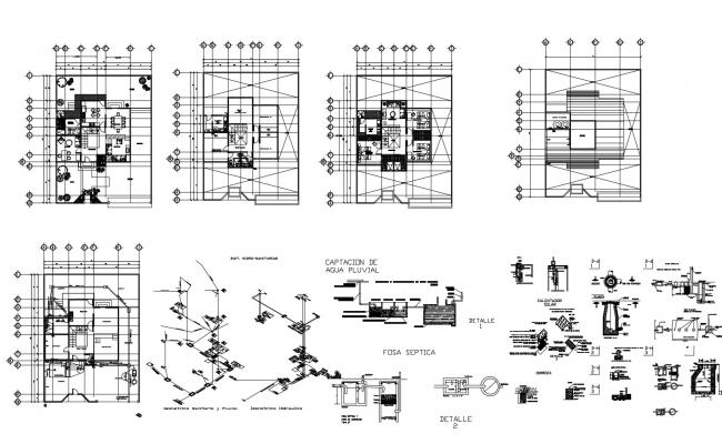 House Plan With Dimension In DWG File