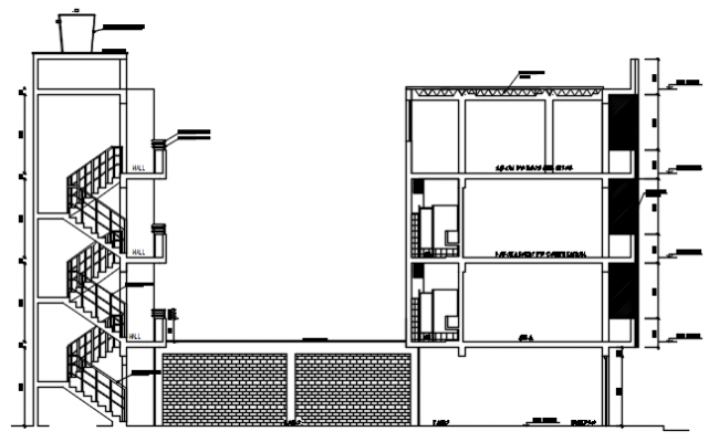 Dwg file sectional elevation of school
