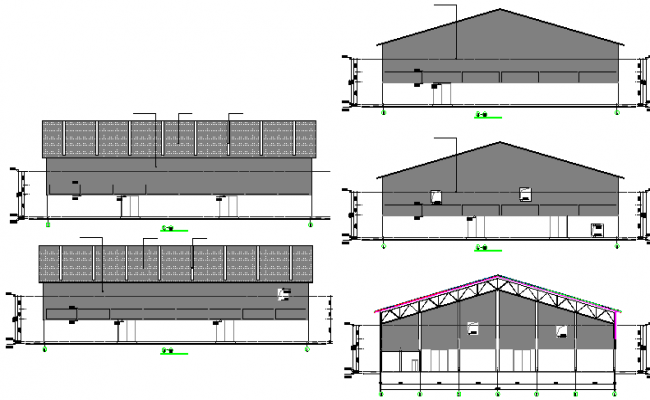 Dying and packaging plant elevation and sectional details dwg file