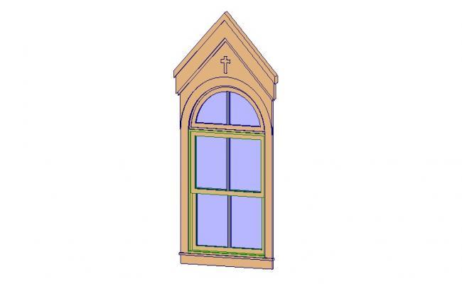 Dynamic church window 3d block cad drawing details skp file