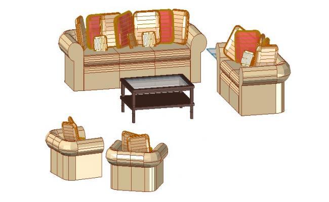 Dynamic drawing room furniture 3d blocks dwg file