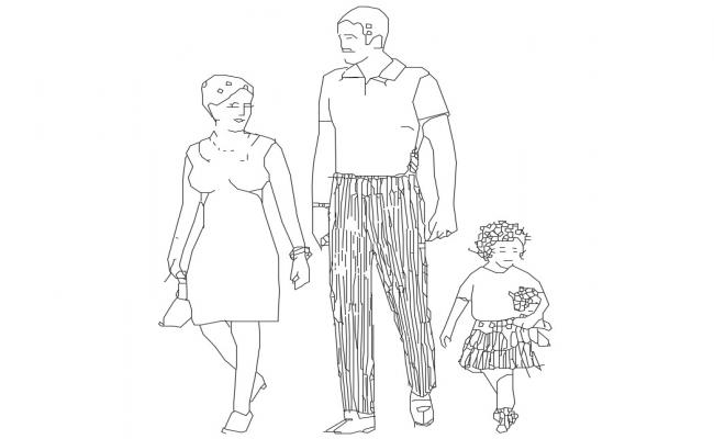 Dynamic family people blocks cad drawing details dwg file
