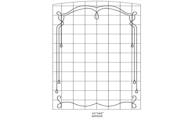 Dynamic mirror front elevation block details dwg file