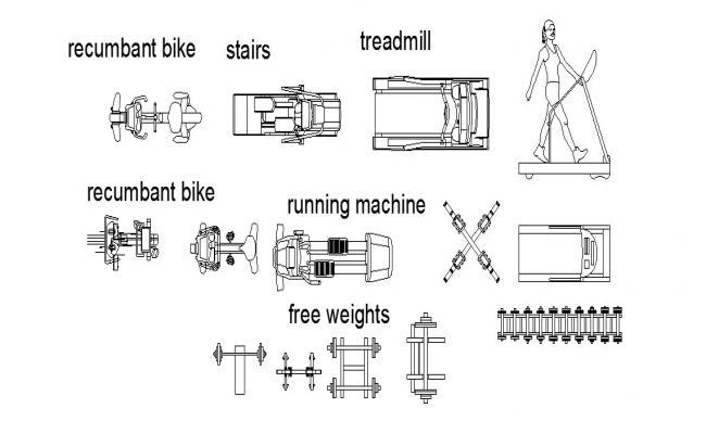 Dynamic multiple gym equipment blocks cad drawing details dwg file