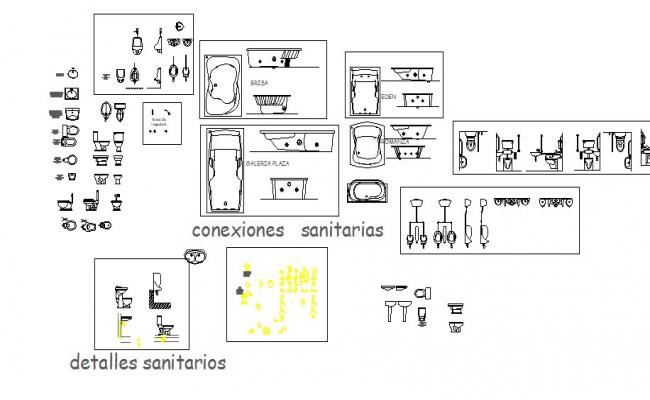 Dynamic multiple sanitary elevation blocks cad drawing