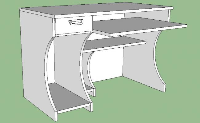 Dynamic pc desk 3d elevation cad block details skp file