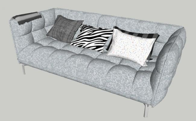 Dynamic Single Couch Type Sofa 3d Elevation Cad Block Details Skp File