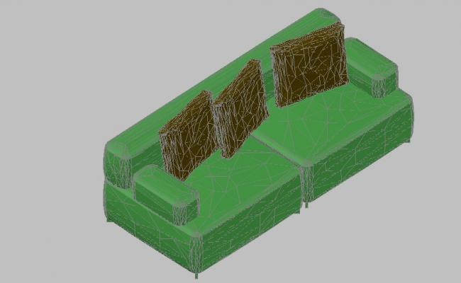 Dynamic sofa set 3d block cad drawing details dwg file