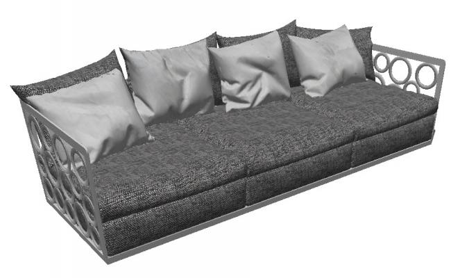 Dynamic sofa set 3d elevation cad block details skp file