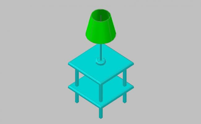 Dynamic table and lamp 3d drawing details skp file