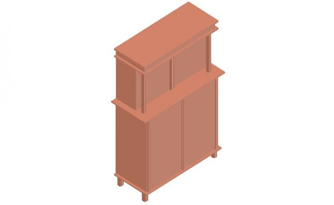 Dynamic wooden 3d cabinet cad drawing details dwg file