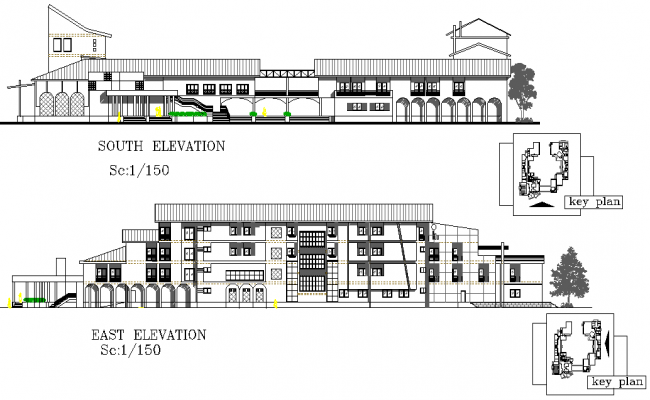 Elevation Key Plan : East elevation and south detail dwg file