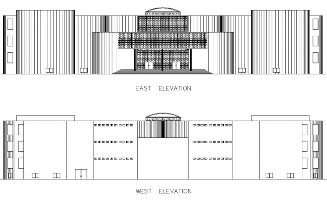 East elevation and west elevation plan detail dwg file