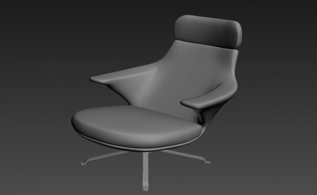 Easy Chair With Rendered 3D MAX File Free