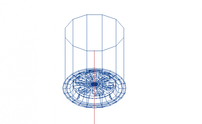 Easy_LED_0 degree cylindrical structure design 3d wire frame view dwg file