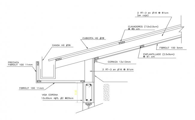 Eaves and roof constructive structure cad drawing details dwg file