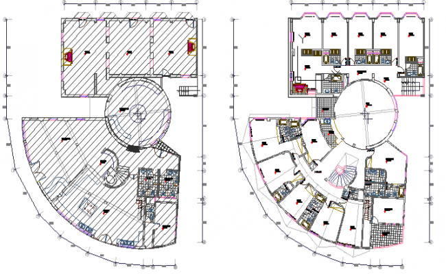 Eco tourist hotel ground and first floor plan details dwg file