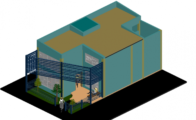 Economical house in 3 d plan detail dwg file
