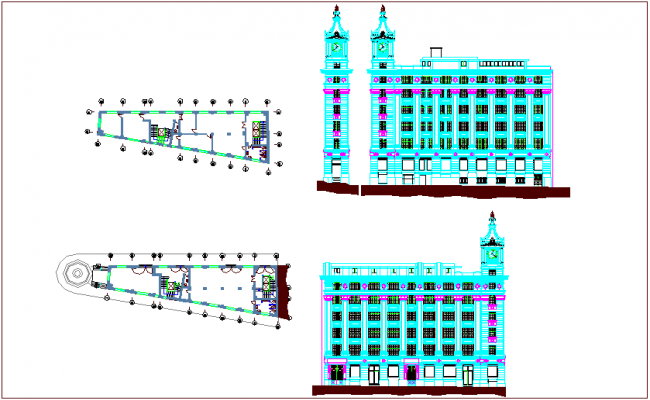 Edifice Turin government building plan and elevation view dwg file