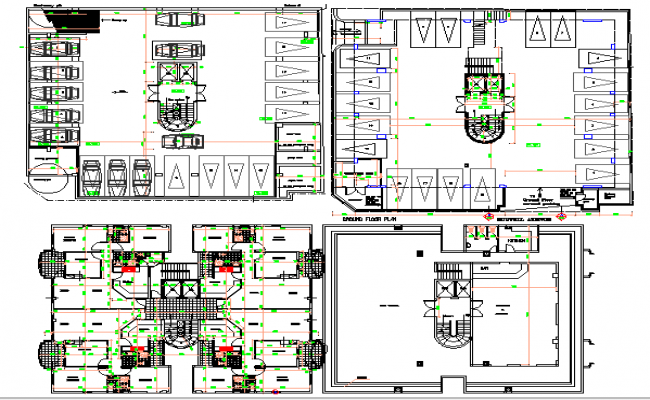 Education and commercial building floor plan details dwg file