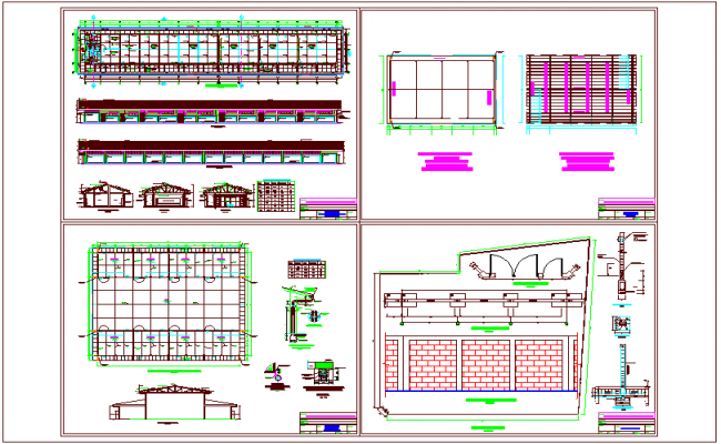 Education area distribution plan with elevation and view of door,window and column view dwg file