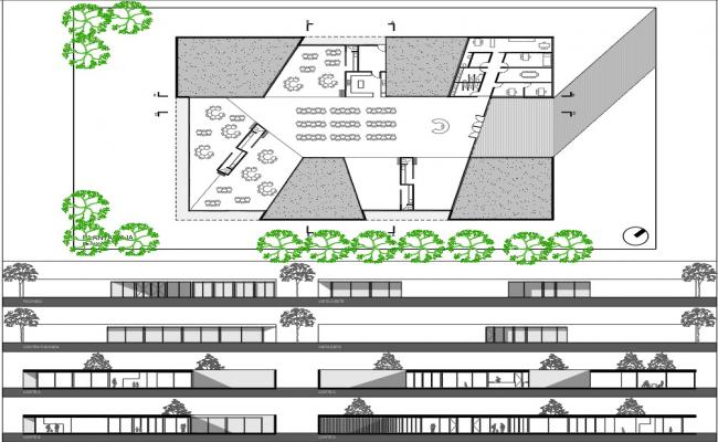 Education building architecture project dwg file