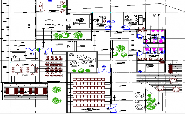 Education center architecture layout plan dwg file