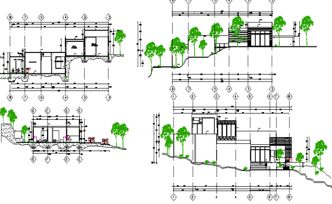 Education center elevation and section details dwg file