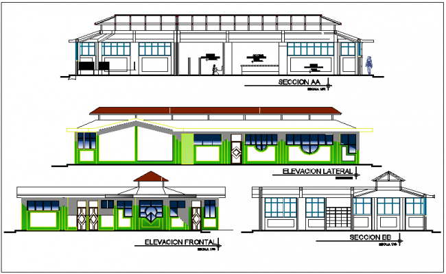 Education center elevation and section view dwg file