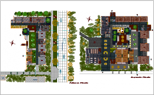 Education center first and second floor plan dwg file